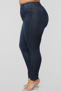 Classic High Waist Skinny Jeans - Dark Denim Angle 15