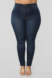 Classic High Waist Skinny Jeans - Dark Denim Angle 12