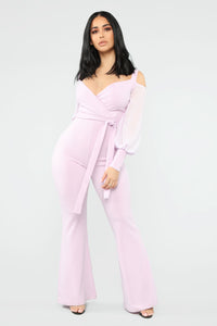 Falling For Your Charm Jumpsuit - Lilac Angle 1