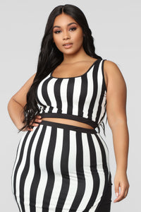 The Way You See Me Striped Skirt Set - Black/White Angle 10