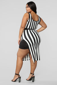 The Way You See Me Striped Skirt Set - Black/White Angle 13