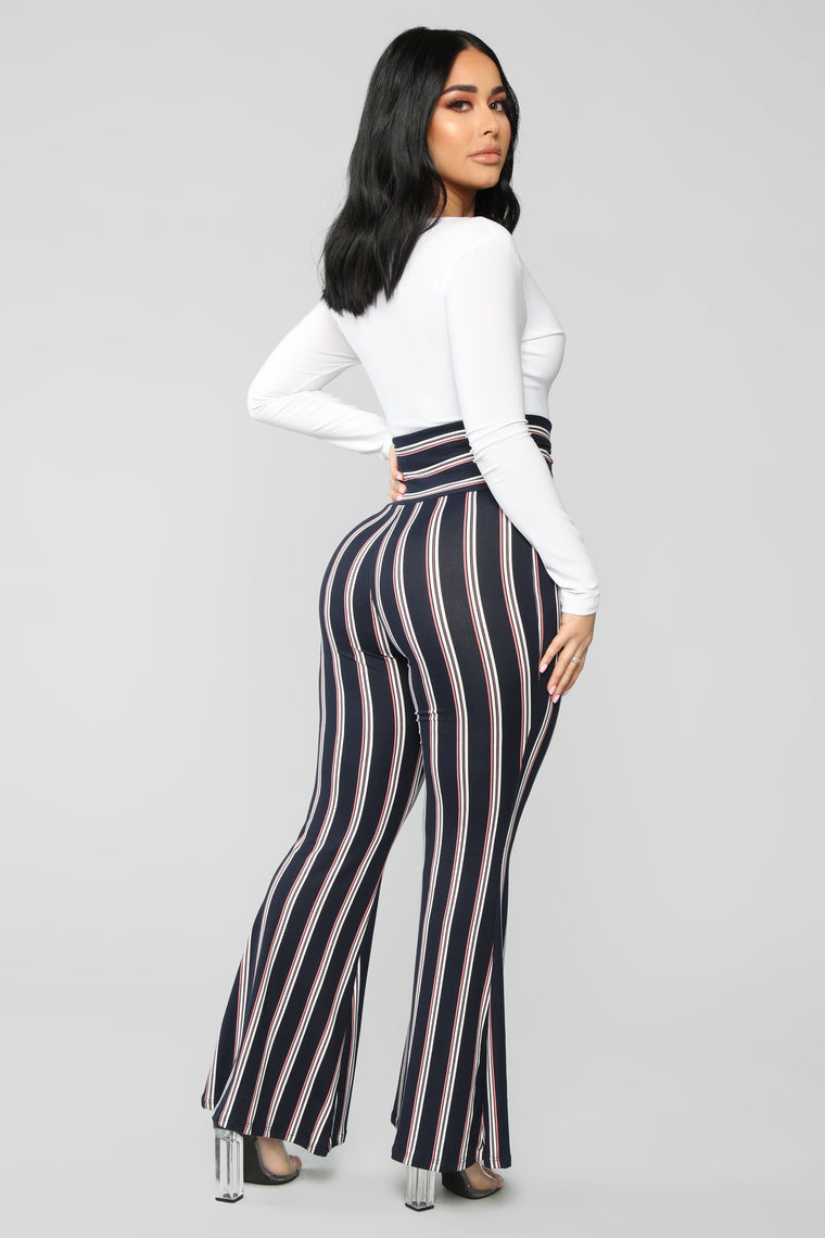 Stripe Me Out Flare Pants - Gold