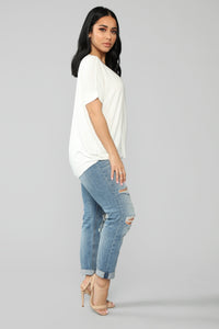 Dream On Short Sleeve Top - Off White