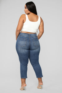 Not Holding Back II Crop Jeans - Dark Denim