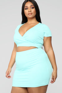 Cross Out The Haters Ribbed Skirt Set - Mint