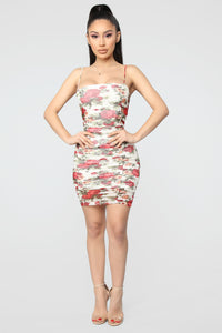Lovers Cove Floral Ruched Dress - White/combo