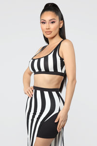 The Way You See Me Striped Skirt Set - Black/White Angle 4