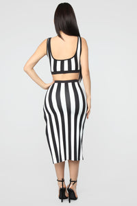 The Way You See Me Striped Skirt Set - Black/White Angle 5