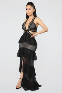 Come Away With Me Mesh Maxi Dress - Black