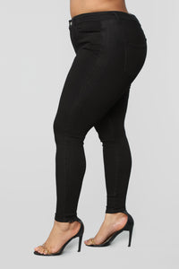 Classic Mid Rise Skinny Jeans - Black Angle 13