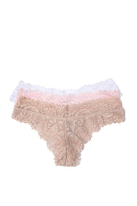 Never Let Me Go 3 Pack Thong Panties - Pink/Taupe/White
