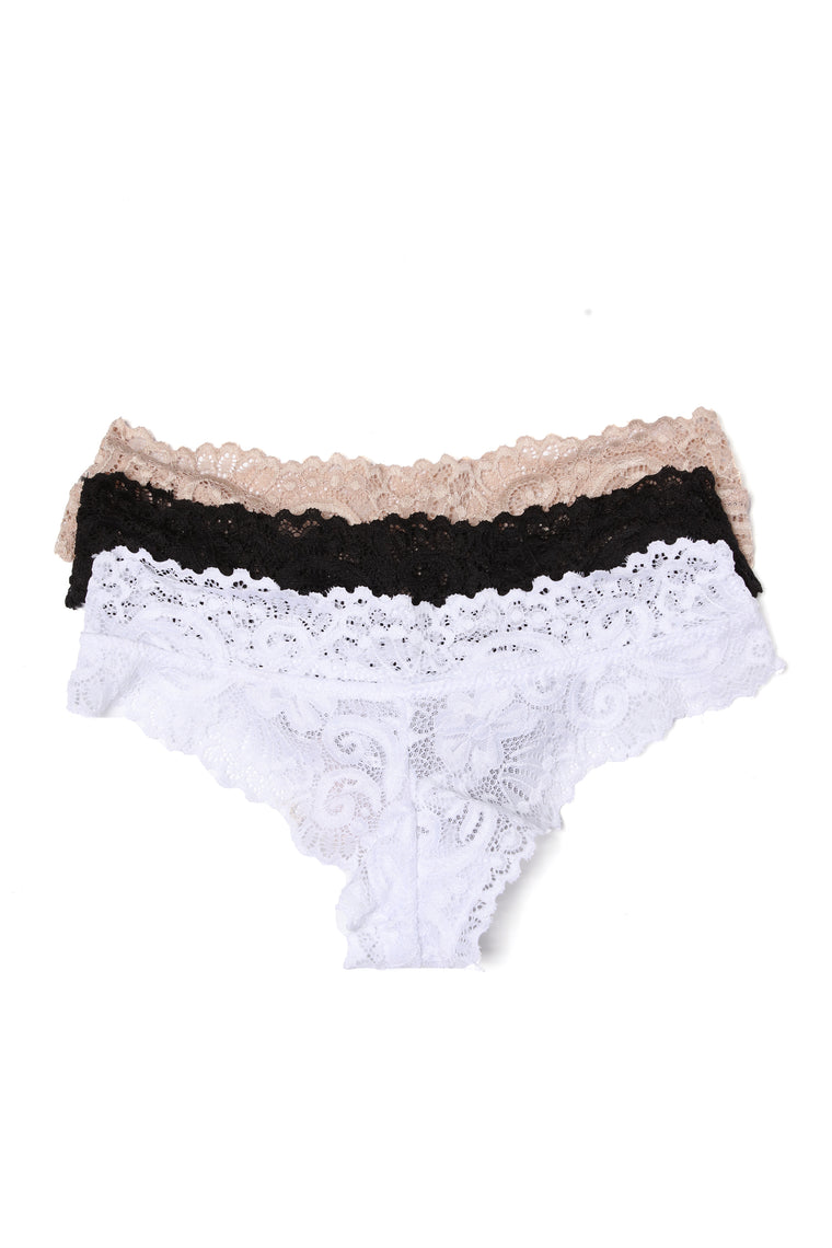 Never Let Me Go 3 Pack Thong Panties - Black/White/Taupe