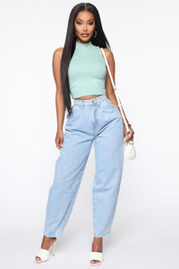 Daydreaming High Rise Mom Jeans - Light Blue Wash Angle 2