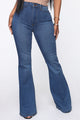 Get With The Groove Bell Bottom Jeans - Medium Blue Wash