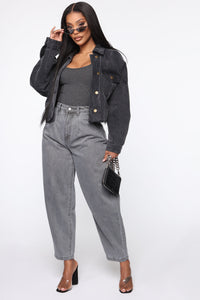Daydreaming High Rise Mom Jeans - Washed Grey Angle 3