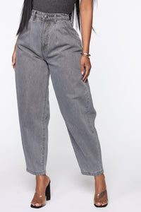 Daydreaming High Rise Mom Jeans - Washed Grey Angle 2