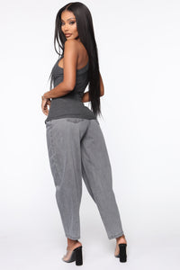 Daydreaming High Rise Mom Jeans - Washed Grey Angle 4