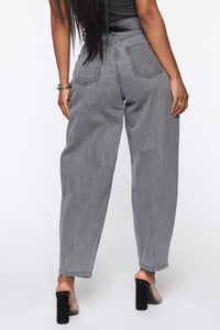 Daydreaming High Rise Mom Jeans - Washed Grey Angle 5
