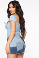 Sweet Loving Denim Puff Sleeve Crop - Light Wash