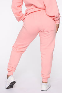 Stole Your Boyfriend's Oversized Jogger - Peach Angle 4