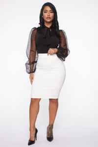 Erase You Pencil Skirt - Off White Angle 2