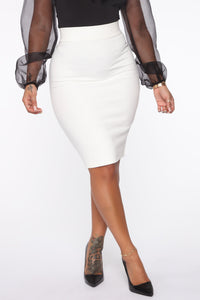 Erase You Pencil Skirt - Off White Angle 1