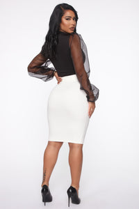 Erase You Pencil Skirt - Off White Angle 3