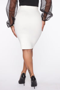 Erase You Pencil Skirt - Off White Angle 4