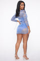 Glow Girl Metallic Mesh Mini Dress - Blue