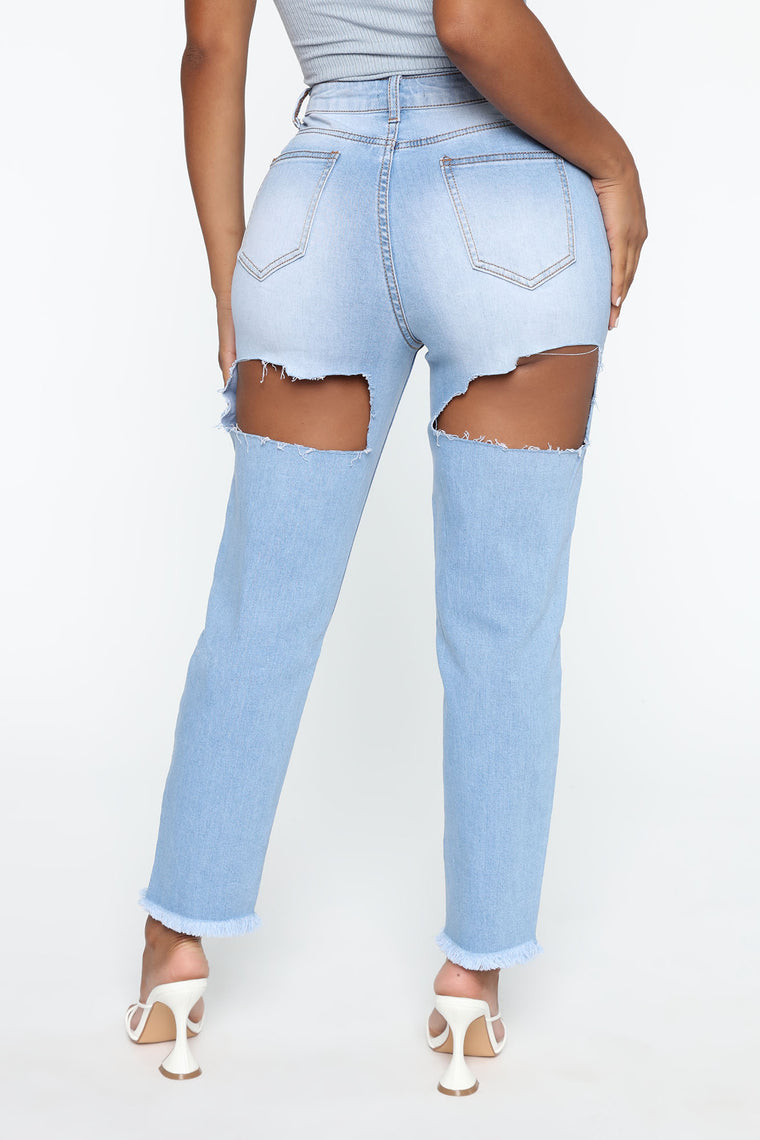 Let's Have Some Fun Cut Out Jeans - Light Blue Wash