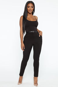 You Can Call Me Boss Lady Belted Pants - Black Angle 2