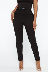 You Can Call Me Boss Lady Belted Pants - Black Angle 1