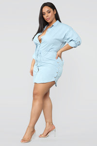 Rustic Chambray Tunic - Light Blue Angle 10