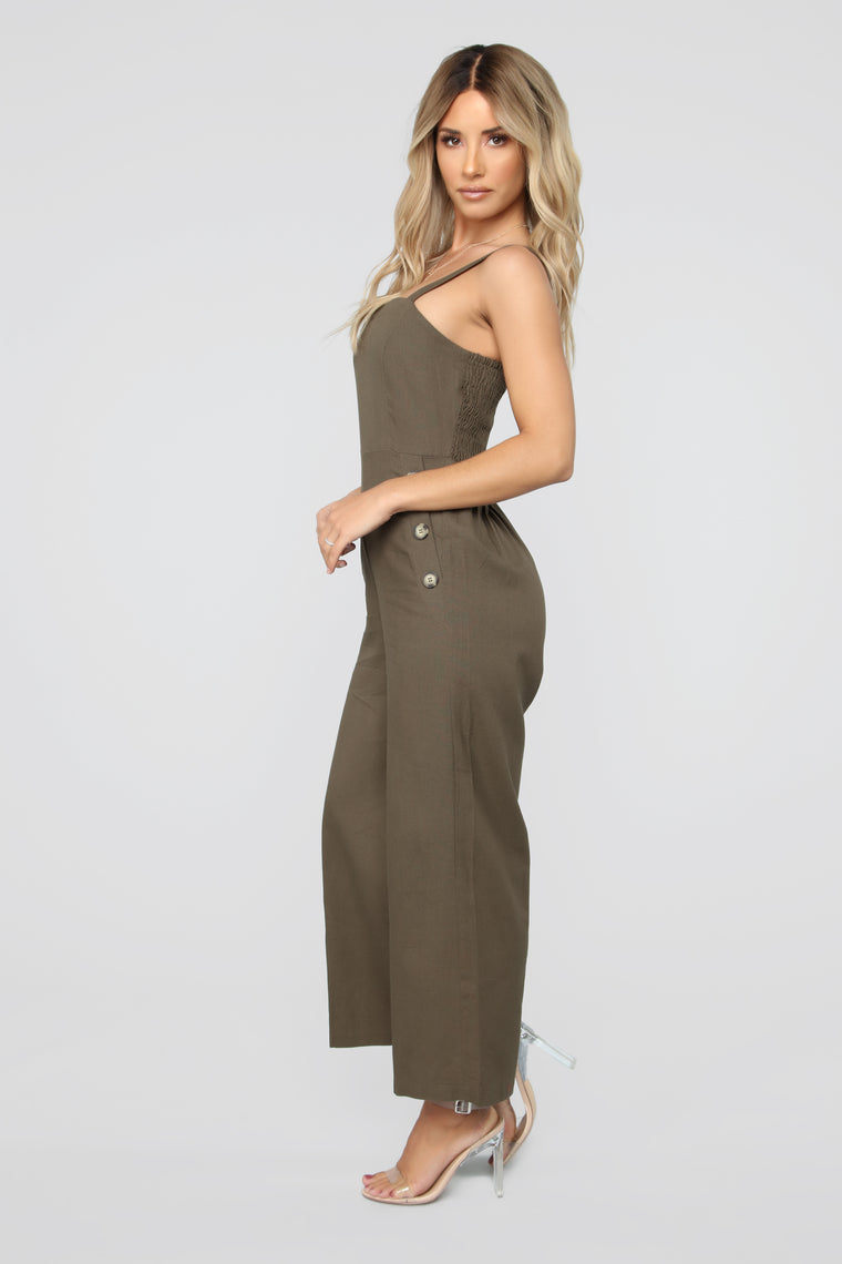 Karen Button Jumpsuit - Olive