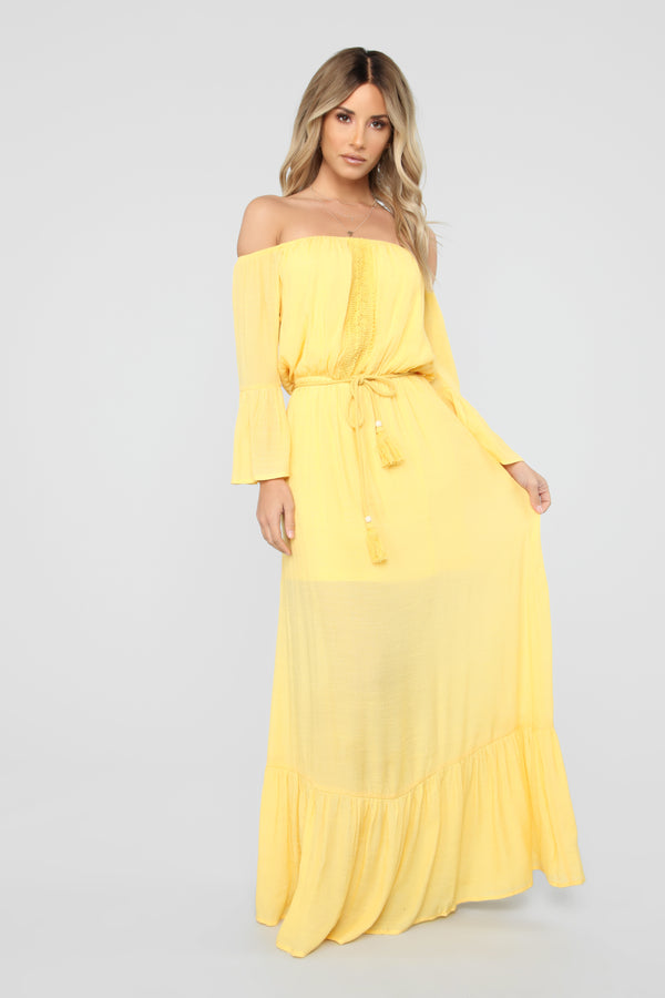 935ec69c97 Born And Raised Off Shoulder Maxi Dress - Mustard