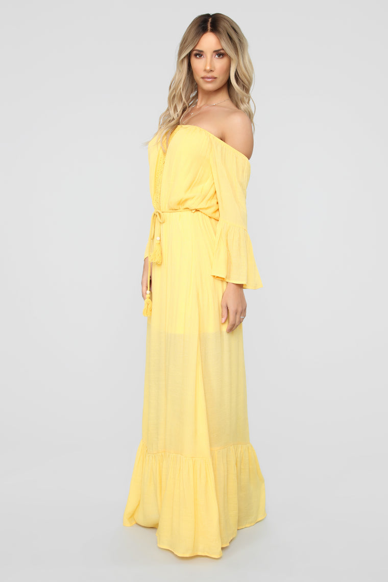 Born And Raised Off Shoulder Maxi Dress - Mustard