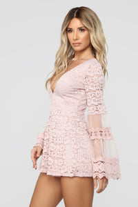 All The Fame Lace Bell Sleeve - Mauve Angle 4