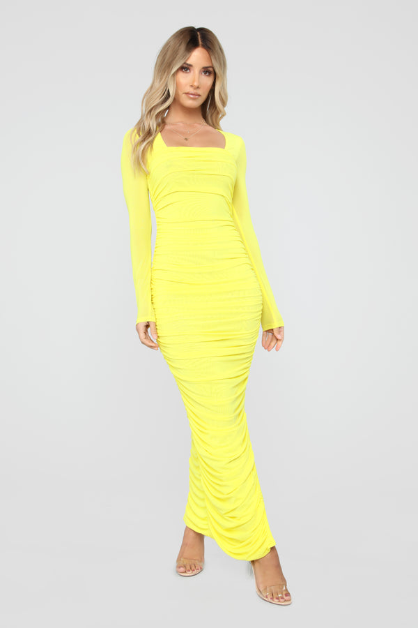 5b4268597977 Body Lookin  Right Ruched Maxi Dress - Yellow