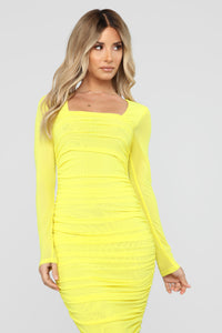 Body Lookin' Right Ruched Maxi Dress - Yellow