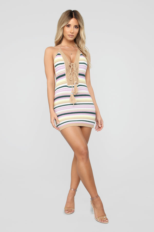 7e4f59e08c Colorful Lifestyle Stripe Mini Dress - Lavender Multi