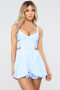 Ready For Some Frill Romper - Light Blue