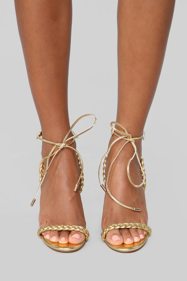 41951e264 Trying Too Hard Heeled Sandals - Gold