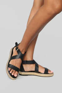 Take You With Me Flat Sandals - Black