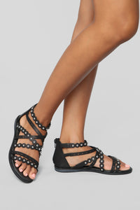 You'll Never Know Flat Sandals - Black