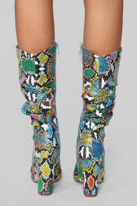Bring It On Heeled Boots - Rainbow Snake