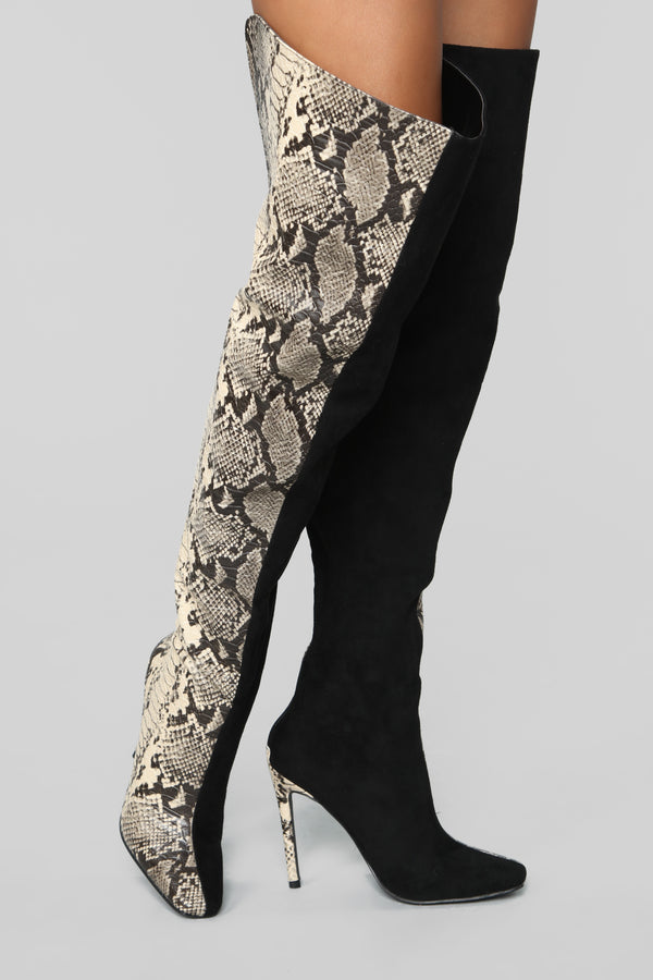 c81fdcc7452 Holy Grail Heeled Boot - Black Snake