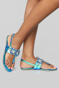 Ideally Yes Flat Sandals - Green Hologram