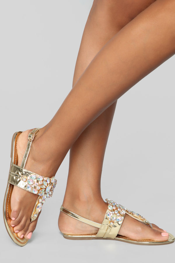 68f3669d087 Ideally Yes Flat Sandals - Gold