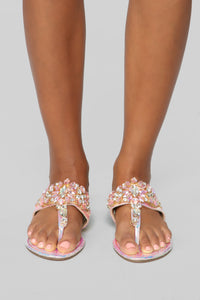 Ideally Yes Flat Sandals - Pink Hologram