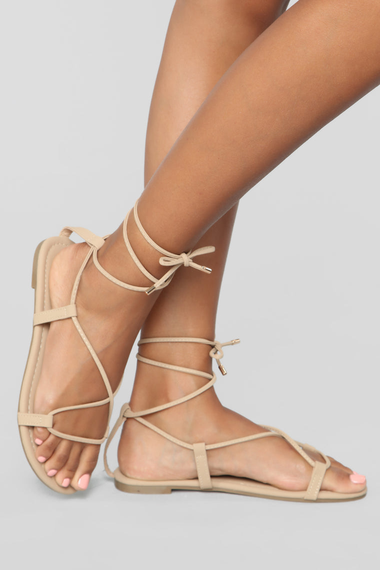 Keep It Moving Flat Sandals - Nude